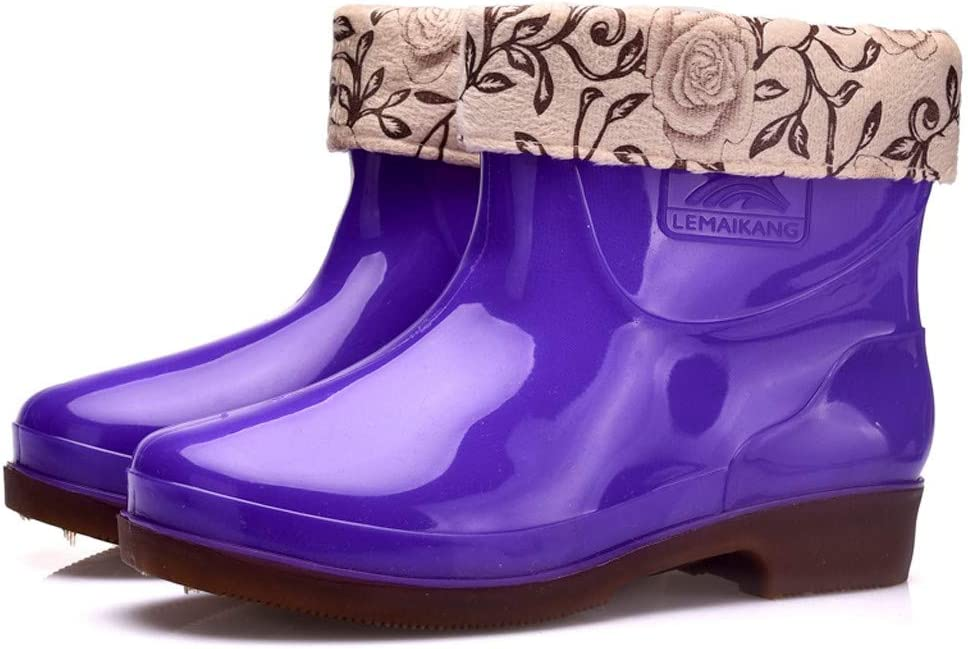 perfectCOCO Womens Rain Boots Non-Slip Low-Heel Warm Outdoor Shoes Snow Boots Casual Short Boots Waterproof Overshoes