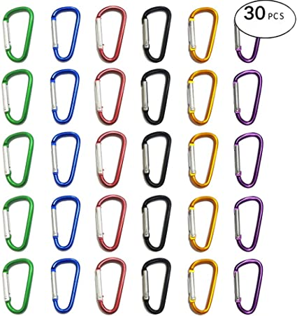 Backpack Bottle Gimars Improved Durable 2 Inch X 20 Pcs Small Mini Carabiner Clips Assorted Colors D Shape Spring-Loaded Gate Aluminum Carabiner Keychain for Home Fishing Hiking Camping