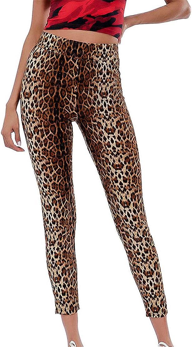 Bluestermall Pantaloni a Vita Alta da Donna Leggings Moda Stampa Leopardo