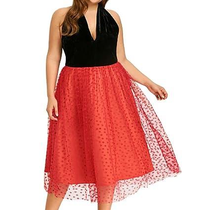 Vestido Bustier malla épissée grande rawdah mujeres vestidos Plus Size Velvet Grenadine Patchwork Halter Backless Party