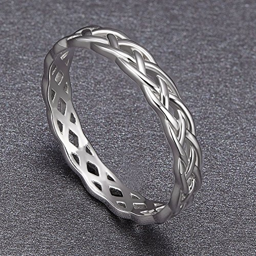SOMEN TUNGSTEN 925 Sterling Silver Ring 4mm Eternity Knot Wedding Band for Women Size 7.5 by SOMEN TUNGSTEN (Image #1)'