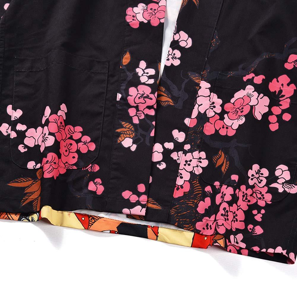 PengGengA Unisex Japan Happi Kimono Haori Jacke /Übergangsjacke 3//4 /Ärmel Gedruckt Lose Hemd