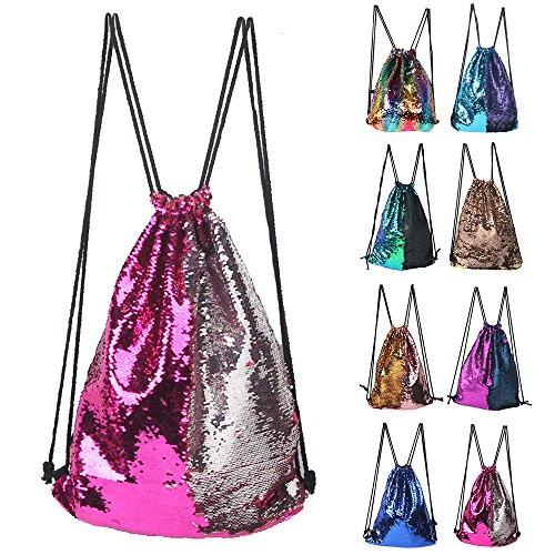 Winmany Mermaid Sequin Backpack Glittering Outdoor Shoulder Bag, Magic Reversible Glitter Drawstring Backpack, Fashion Bling Shining Dance Bag, Sports Backpack Bag