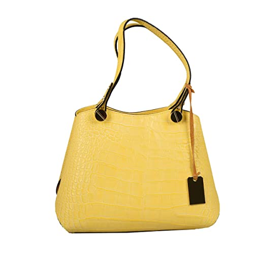 Estampado En Amarillo Bolso Verdadera Cocodrilo Piel Color qOcg0wHz