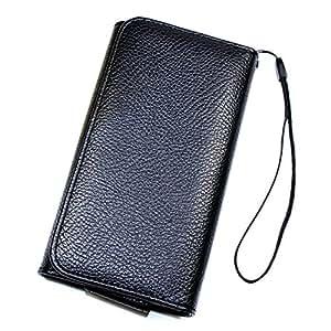 Funda estilo libro de piel sintética de color negro, tamaño XXL I547 para Samsung Galaxy Pro