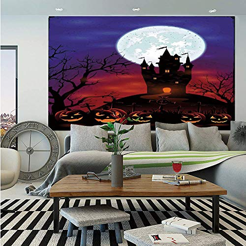 SoSung Halloween Decorations Huge Photo Wall Mural,Gothic Haunted House Castle Hill Valley Night Sky October Festival Theme,Self-Adhesive Large Wallpaper for Home Decor 100x144 inches,Multi -
