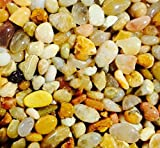 "Safe & Non-Toxic {0.2"" to 0.7'' Inch} 10 Pound Bag of Gravel, Rocks & Pebbles Decor for Freshwater & Saltwater Aquarium w/ Light Natural Beach Tone Tropical Style [Tan, Orange, White, Brown & Gray]"