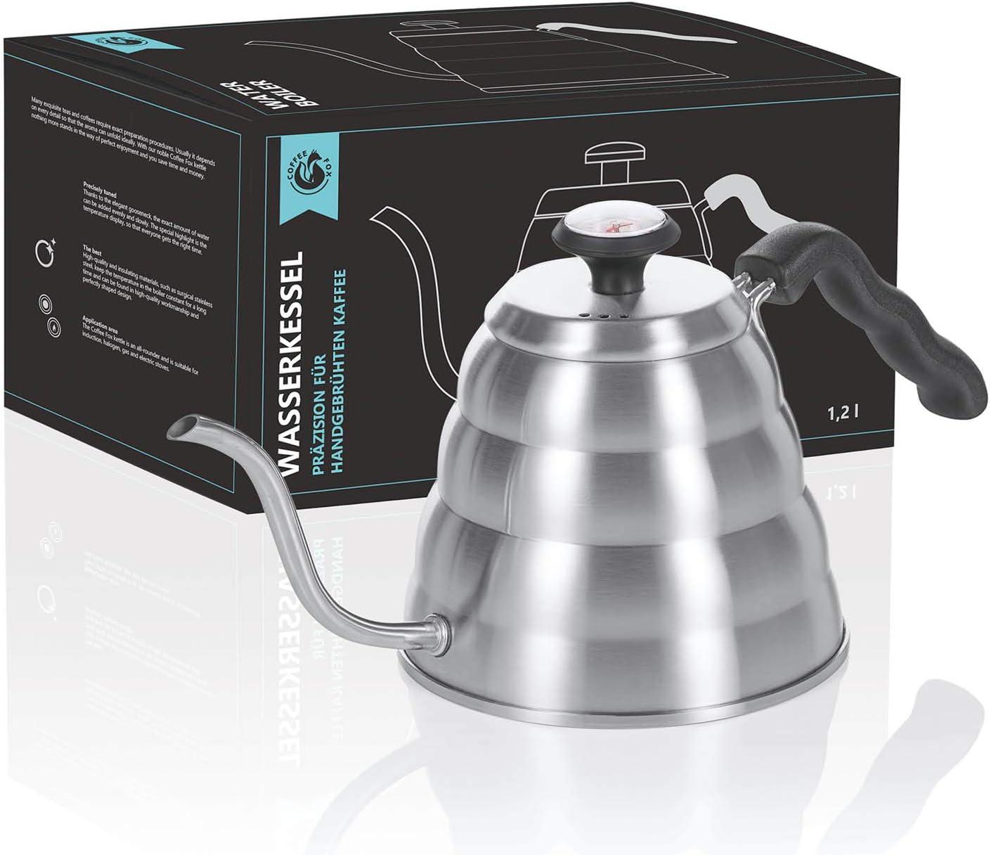 Hervidor de agua de 1,2 litros con termómetro; hervidor de café, hervidor de café y hervidor de té con control de temperatura de acero inoxidable para las cocinas de inducción, de gas y eléctricas