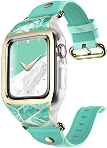 i-Blason Band Compatible with Apple Watch Band 38 mm, [Cosmo] Stylish Sporty Protective Bumper Case with Adjustable Strap Bands for Apple Watch Series 3/2/1 (Green)