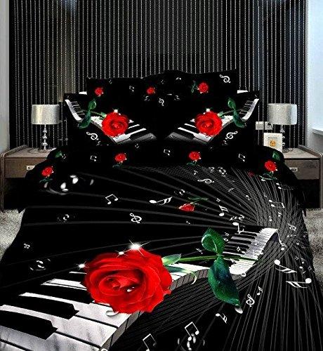 Copripiumino Note Musicali.Rosa Rossa In Rilievo Motivo Note Musicali Colore Nero Set Di