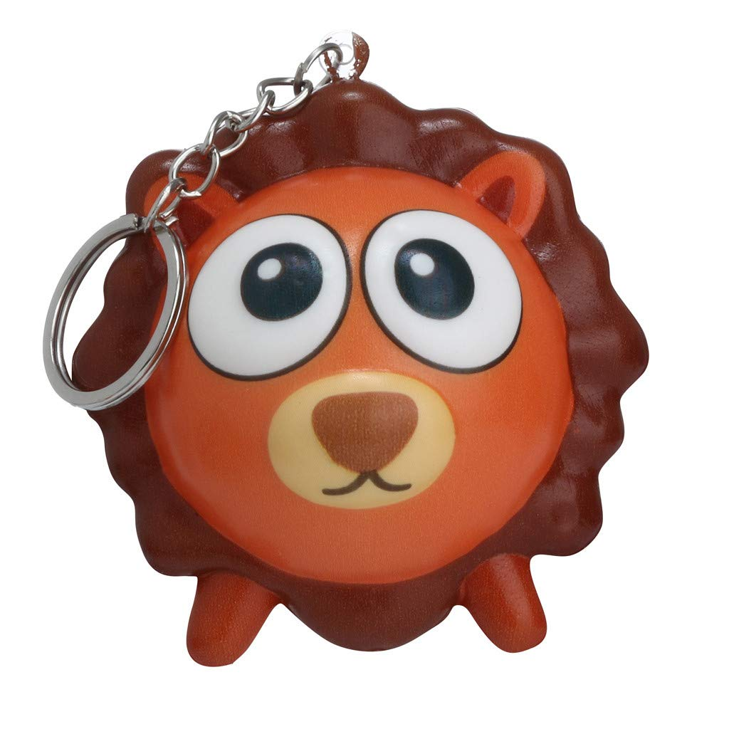 Binory Squishy Toy,Mini Cute Animal Creative Backpack/Car key Pendant/Keychain/Phone Ornament,Slow Rising Attractive Toy,Stress Relief Kawaii Decompression Toy,Children's Day Gift(Lion)