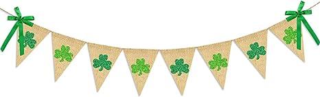 Shamrock Garland Burlap Banner St Patricks Day Banner St Patricks day Gnomes St Patrick/'s Day Leprechaun Gnomes Irish Gnome Banner