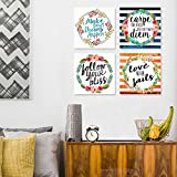 Set of 4 Motivational Wreath Quotations Each 8″x 8″ Carpe the heck out of That Diem Wall Art Home Decor…