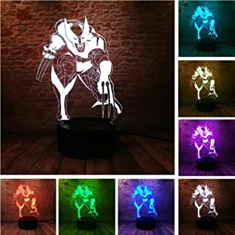 X Usb Veilleuse Lampe Marvel Loga Série Wolf Men 3d Wolverine kZPXui