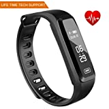 Fitness Tracker, Witmoving Sport Waterproof Smart Bracelet Wristband Watch with Heart Rate Monitor Pedometer Touchscreen for iPhone Samsung IOS Android Smartphones