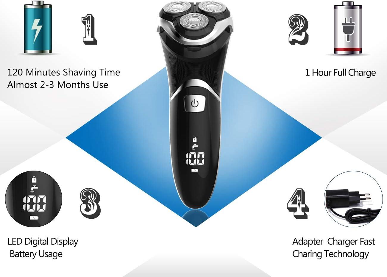 MAX-T RMS8101 Afeitadora Eléctrica Hombre Húmedo & Seco con Pop-up Trimmer Máquina Afeitar Barba IPX7 100% Impermeable: Amazon.es: Salud y cuidado personal