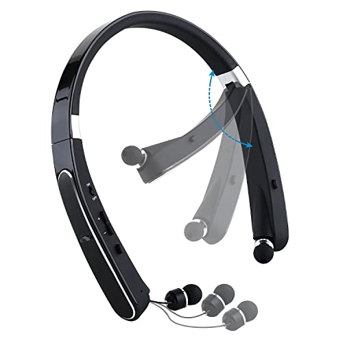 Mee'sport Foldable Bluetooth headset, Wireless Sports Headphones with Mic Neckband Design with Retractable Earbuds Bluetooth 4.1 Stereo Earphones for iPhone Android Bluetooth Enabled Devices (Black)