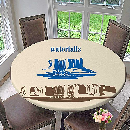 PINAFORE HOME Round Fitted Tablecloth Stylized Vector Waterfalls for All Occasions 63