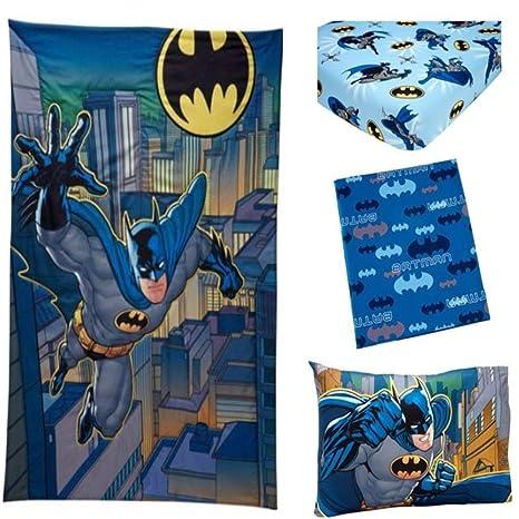 Amazon.com: 3 Piece Blue Black Kids Batman Toddler Bed Set ...
