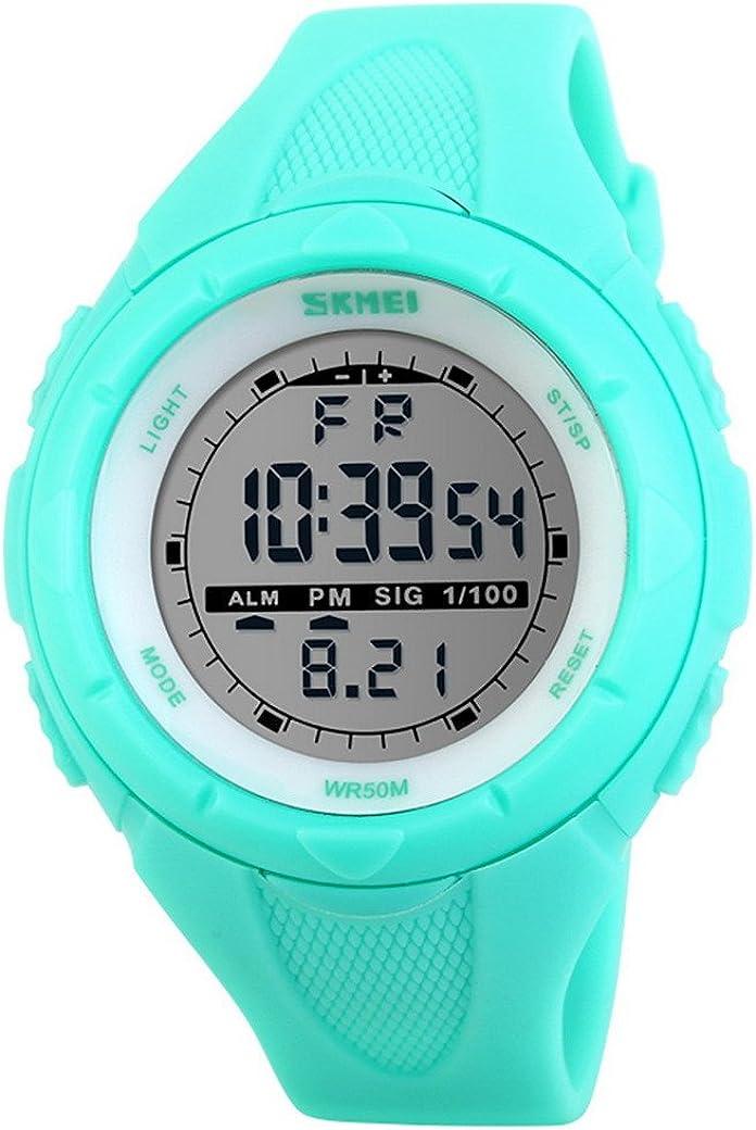 Happy Cherry Deportivo LED Reloj Digital de Cuarzo con Correa de Gaucho Esfera Grande Multifunción Alarma Cronómetro Calendario Waterproof Wrist Watch para Mujer Chica