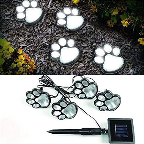 LED Solar Paw Print Lights,4 Puppy Dog Bear Paw Buried Light,Animal Decor Night Light for Outdoor Garden Path Landscape Walkway Yard,Auto On Silver