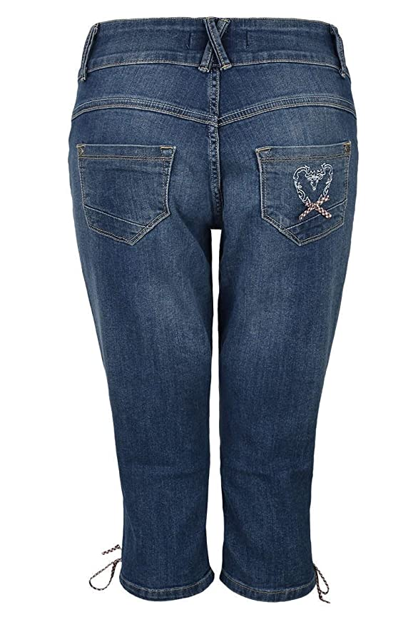 Country-Line Damen Damen Jeans Lederhosenoptik 3 4, Blau,  Amazon.de   Bekleidung f0fb5845a6
