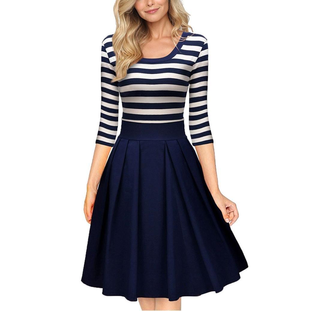 SunWard Womens Sexy Navy Style Stripe Scoop Neck Sleeve Casual Swing Dress (S, Blue)
