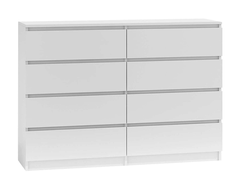 Kommode mit 8 Schubladen Malwa M8, Mehrzweckschrank, Diele, Flur, Anrichte, Sideboard, Highboard, Wohnzimmer, Esszimmer (Weiß)