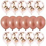 """SunBeter Ensemble de ballons en latex série Rose Gold, Rose Gold Confetti Filled Ballons Party Latex pour les décorations d'anniversaire de mariage (16 Pcs 18"""")"""
