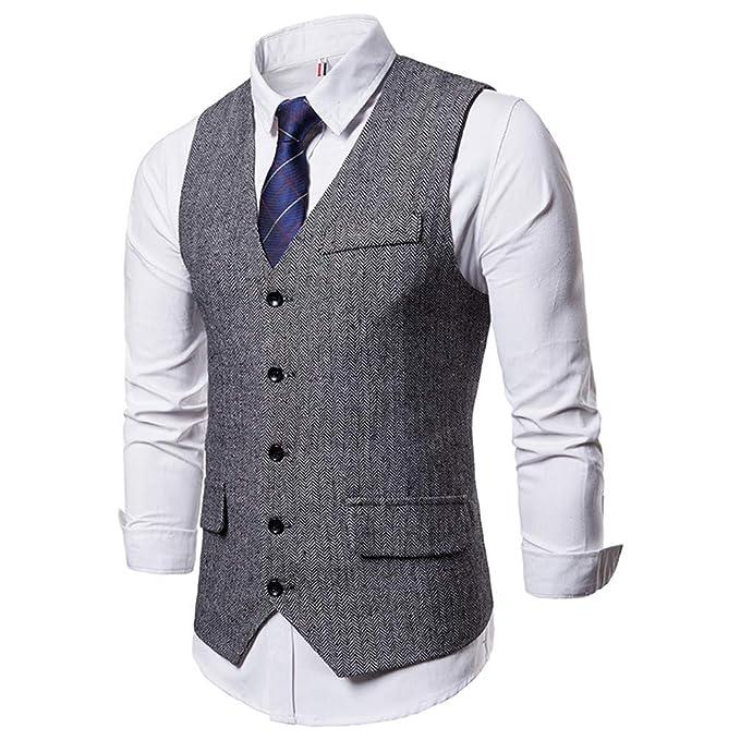 7f3a1258b2a7f Logobeing Chaleco Hombre Blazers Traje Sin Manga Formal Negocios Slim Fit  Suit Chaqueta Hombre Traje de
