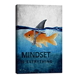 "Mindset is Everything Motivational Canvas Wall Art Inspirational Entrepreneur Quotes Poster HD Print Artwork Painting Picture for Living room Bedroom Office Home Decor Framed Ready to Hang (12""Wx18""H)"