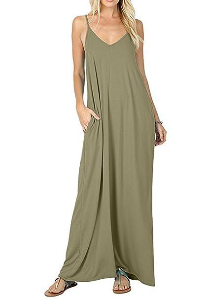 56a56c9d96a ZIOOER Women s Summer Casual Flowy Pockets Loose Beach Sleeveless Spaghetti  Strap Cami Maxi Dresses Army Green