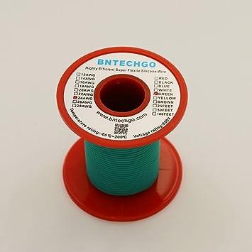 bntechgo® 28 Gauge Silikon Draht 50 Füße Weich und flexibel grün ...