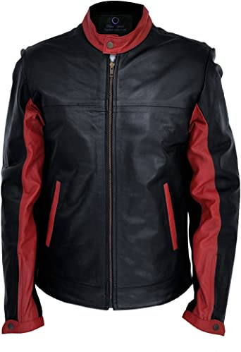 Men/'s Arrow Red and Black Faux Leather Jacket Exclusively for Men Chase Squad Black Faux Leather Jacket Men