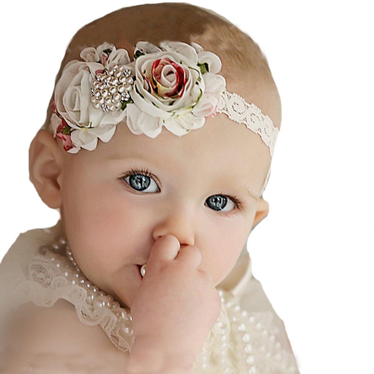 80e467e129f Amazon.com  Miugle Baby Girl s Lace Headbands with Shabby Chic Bows ...