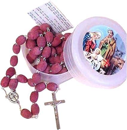 2 ROSE PROFUMATE Perline Rosario ROSARIE Rosario Croce di Gerusalemme in Scatola