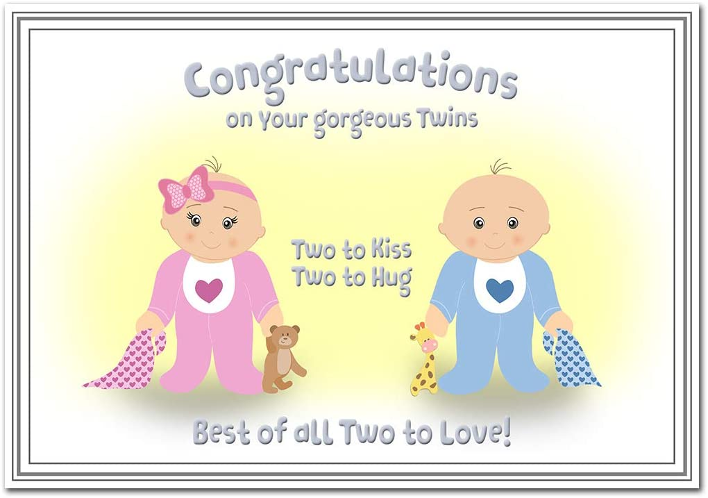 Twin Birth Card Newborn Twins New Baby Boy And Baby Girl Congrats Congratulations On Birth Brother And Sister Greeting Good Wishes Blank Inside To Write Your Own