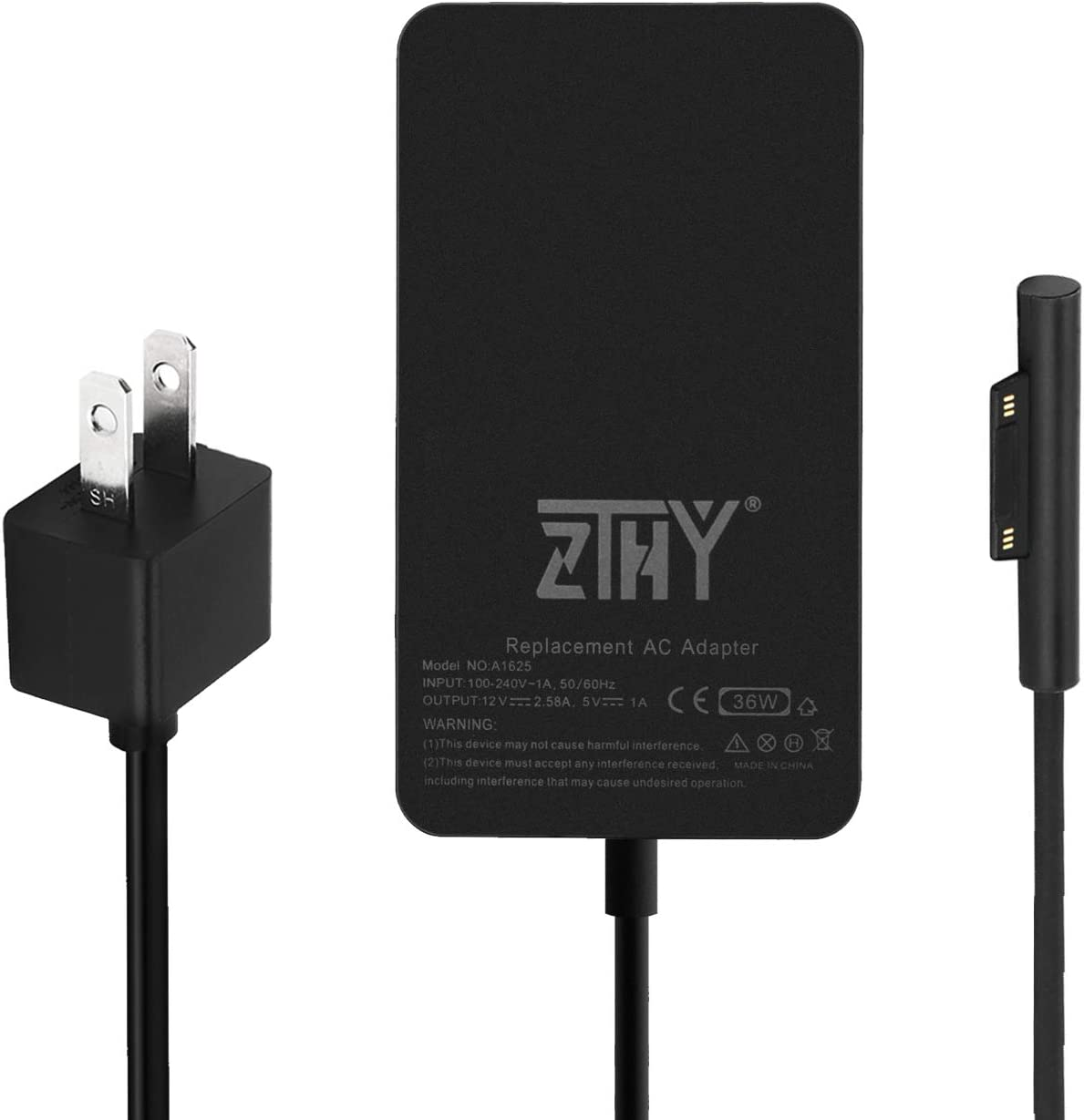 Surface Pro 5 Pro 4 Pro 3 Charger,ZTHY 36W 12V 2.58A Power Supply Adapter for Microsoft Surface Pro 3 Pro 4 i5 i7 Pro 5 Surface Go Tablet with 6Ft USB Power Cord Model 1625