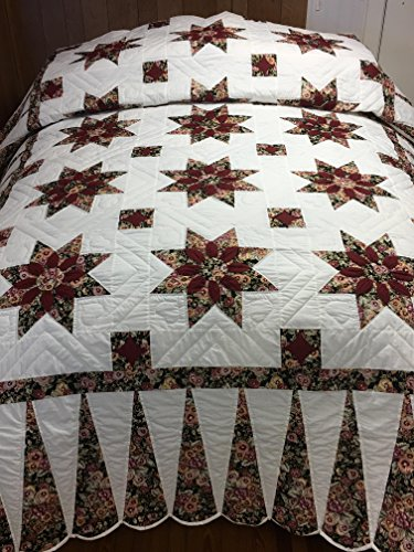 Nancy's Corner Handmade Hand-quilted Amish Quilt King/Queen - Dahlia (Black-Burgundy-Pansy, King) ()