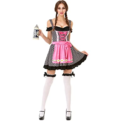 Oktoberfest Beer Maid Womenu0027s Halloween Costume Sexy Bar Maid Lederhosen Dress  sc 1 st  Amazon.com & Oktoberfest Beer Maid Womenu0027s Halloween Costume Sexy Bar Maid Lederhosen Dress