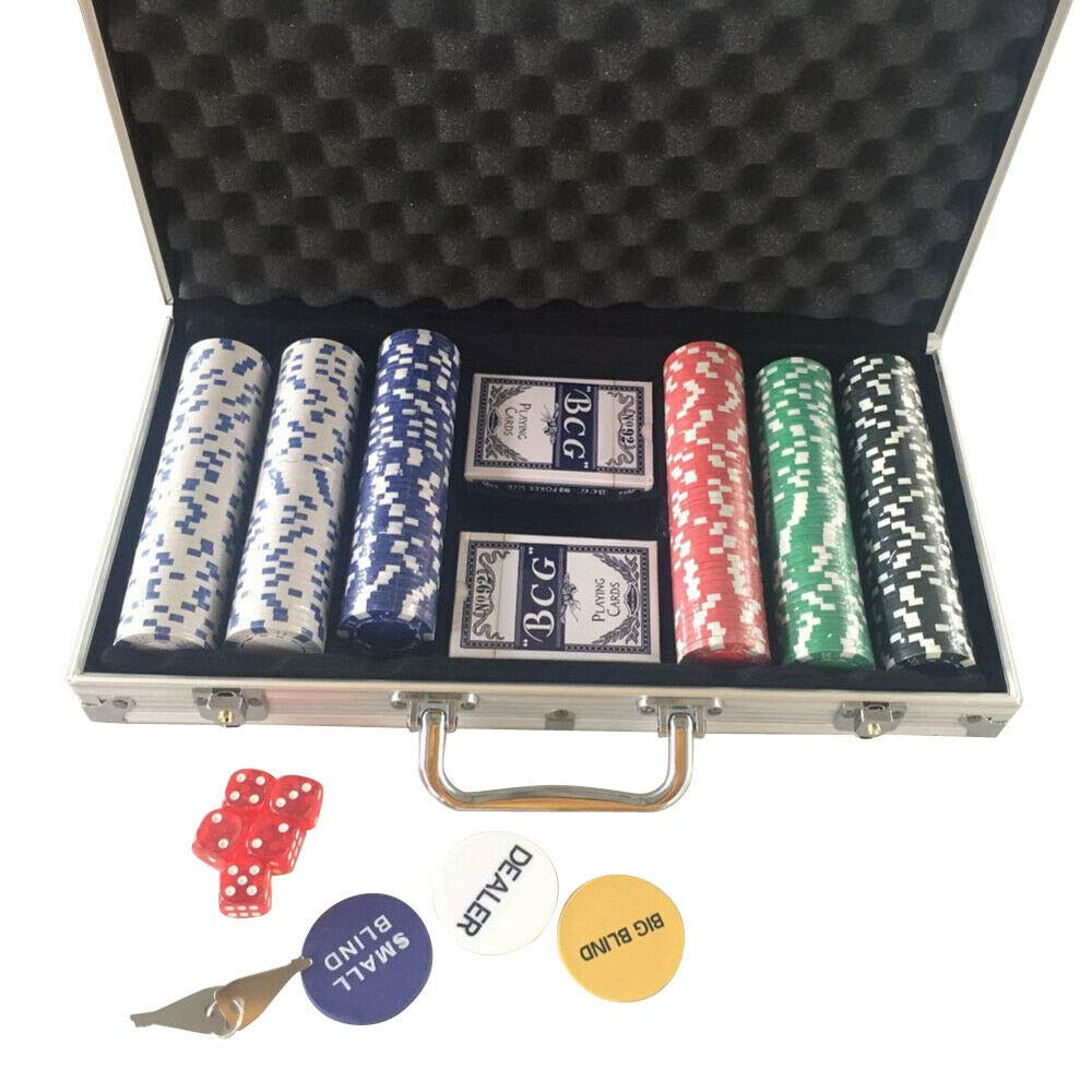 MB-TGamestar Set of Poker Chip 300 Chips Cards Aluminum Case Gamble Table Game by MB-TGamestar