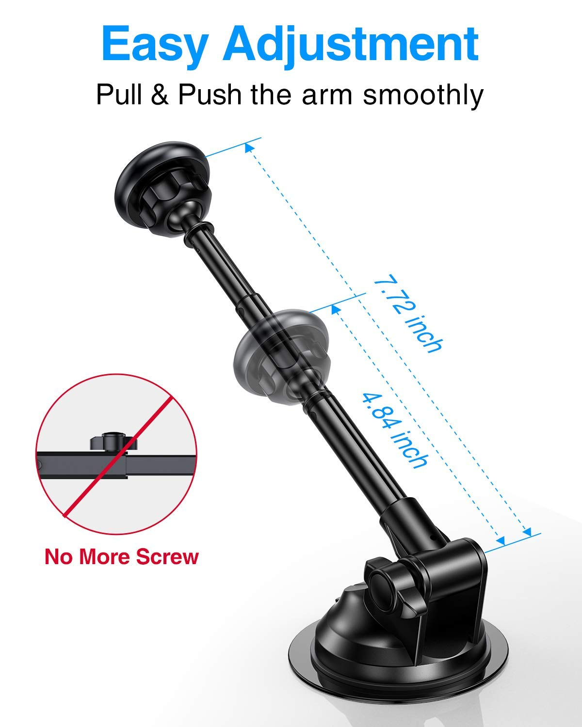 Suction Cup Metal Telescopic Arm for Phones Universal Car Mount for Dashboard and Windshield SALEX Magnetic Phone Holder GPS up to 8 Inches Black 360/° Rotation with 6 Strong Magnets Dash Pad