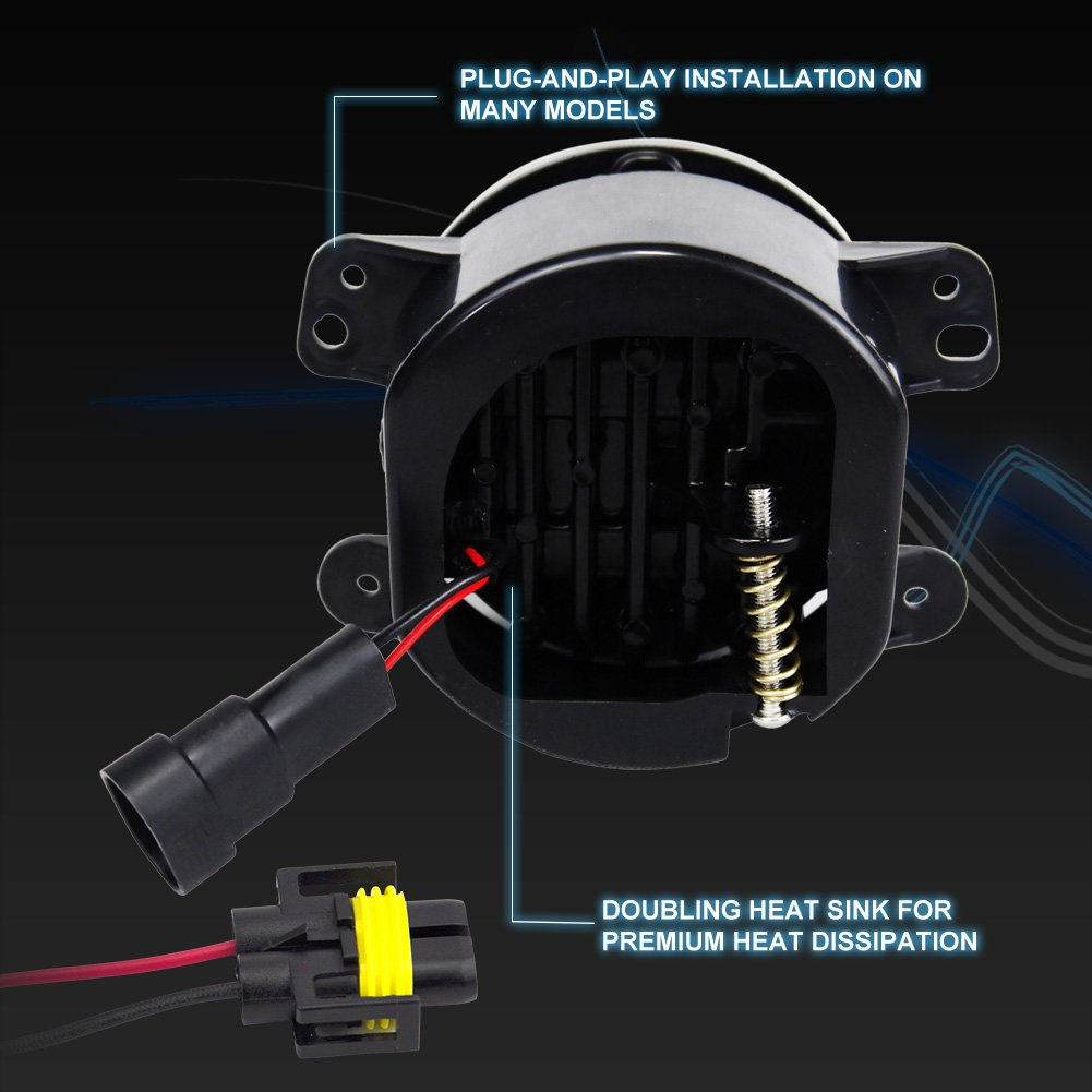 Liteway Pair 4 Inch 30w Cree Led Fog Lights Projector Driving Light DRL for 10th Anniversary Front Bumper of Jeep Wrangler Jk 07+Front Bumper Lights 2 Years Warranty Zhongxin 4333220301