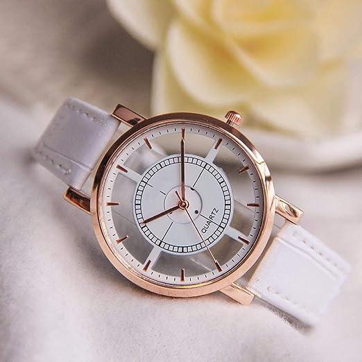 Bestow Mujeres Neutral Personality Simple Analog Wrist Delicate Unique Hollow Reloj Hueco Reloj Leather Strap: Amazon.es: Ropa y accesorios
