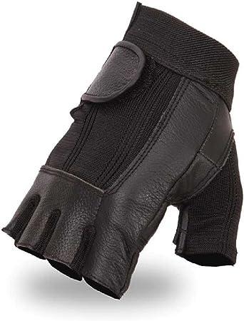 Medium Mens Leather Mesh Combo Fingerless Gloves