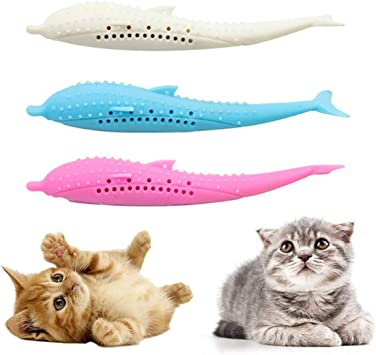 DIANZHI Gatto spazzolino da Denti a Forma di Pesce Giocattolo da Masticare per la Pulizia dei Denti per Gatti e Gattini Gatti con Erba Gatta 3 Pack Bastoncino in Silicone