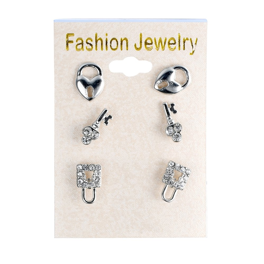 Earrings Set by JADA Collections 3 Pair Heart Lock and Key Crystal Stud