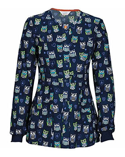 Code Happy Women's Snap Front Owl Print Warm Up Scrub Jacket Xx-Small (Clothing Ensemble Collection)