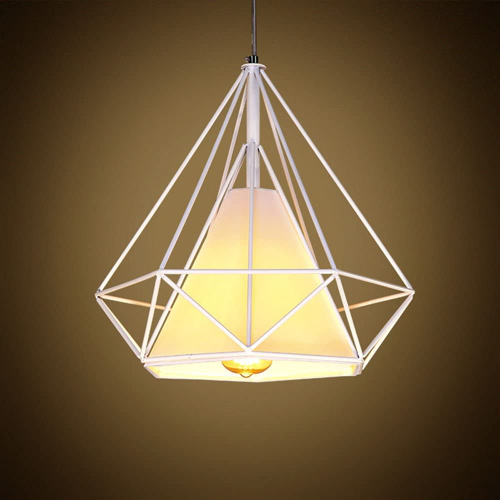 WINSOON 1PC 15.7X15.7 Inch Vintage Retro Industrial LOFT Metal Ceiling CAGE Light Pendant LAMP Shade White