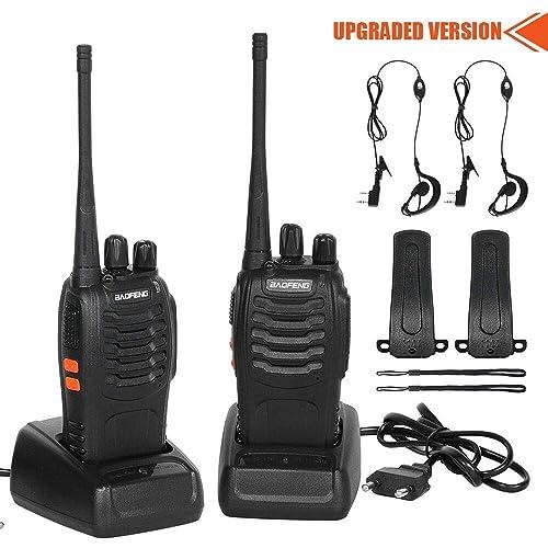 CACAGOO Walkie Talkie Recargable 16 Canales 1500mah CTCSS DCS 6KM Talkie walkie UHF con el Auricular Incorporado Antorcha de LED 2 PCS